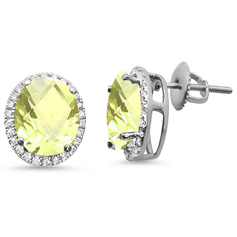 5.21ct Oval Lemon 10k White Gold Halo Stud Diamond Earrings