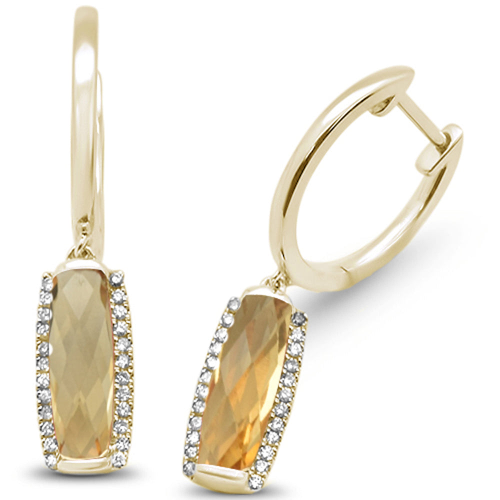 1.75cts 14k Yellow Gold Natural Citrine & Diamond Drop Dangle Earrings