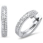 .14ct 14kt White Gold Trendy Diamond Hoop Huggie Earrings