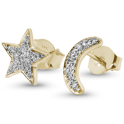.13ct 14kt Yellow Gold Diamond Crescent Moon & Star Stud Earrings