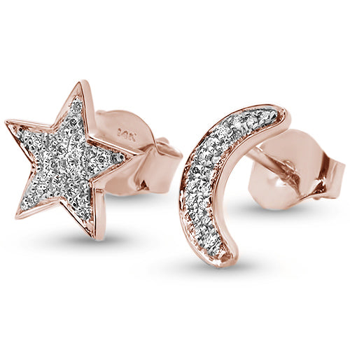 .09ct 14kt Rose Gold Diamond Crescent Moon & Star Stud Earrings