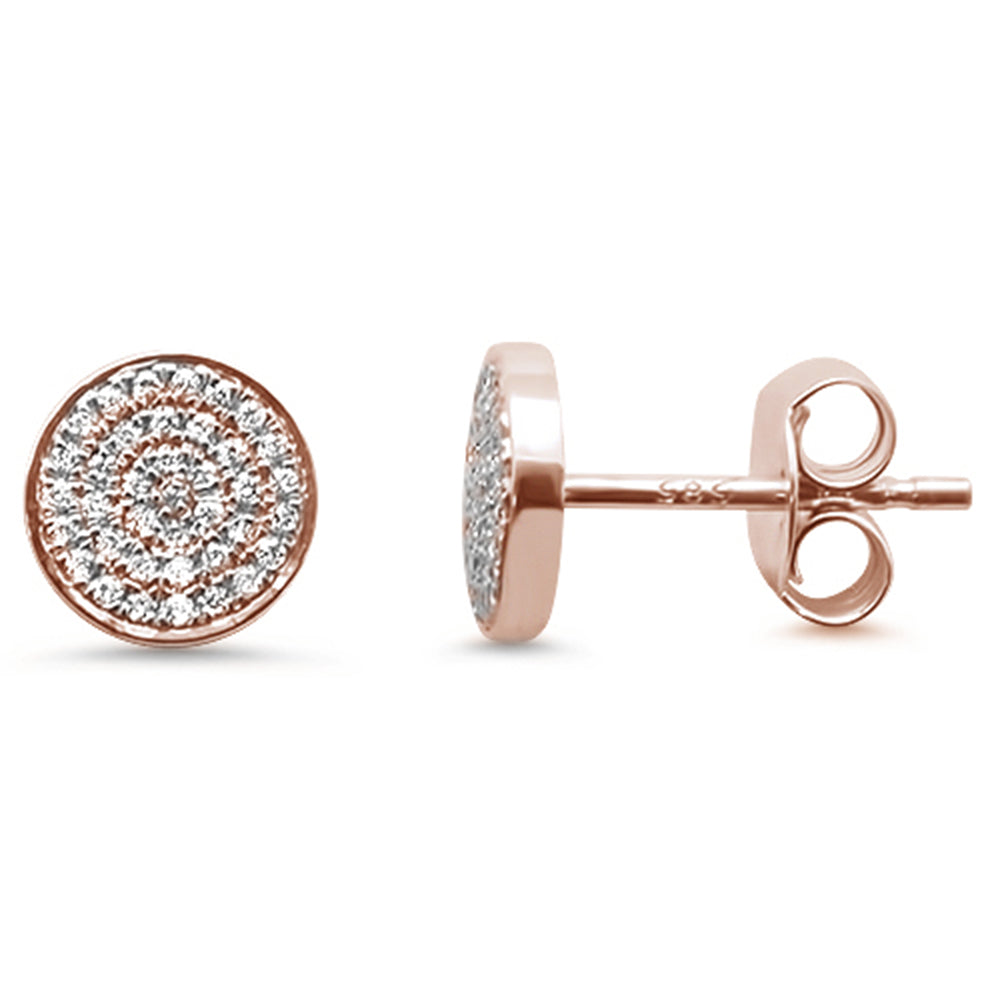 .16ct 14kt Rose Gold Trendy Micro Pave Round Disc Diamond Earrings