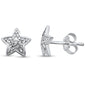 .12ct 14kt White Gold Trendy Star Bezel Set Diamond Stud Earrings