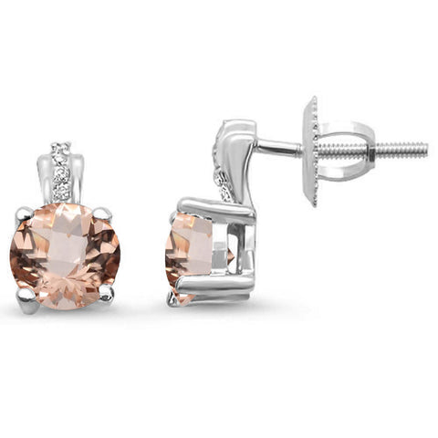.89ct 14kt White Gold Morganite & Diamond Stud Earrings