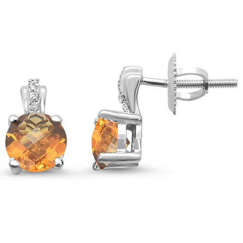 .79ct 14kt White Gold Citrine & Diamond Stud Earrings