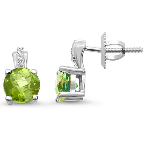 1.03ct 14kt White Gold Peridot & Diamond Stud Earrings