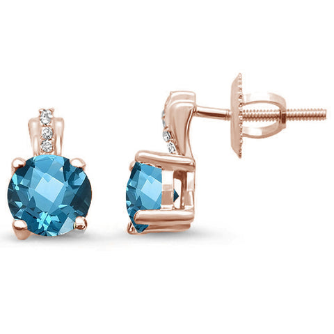 1.12ct 14kt Rose Gold Round Blue Topaz & Diamond Stud Earrings