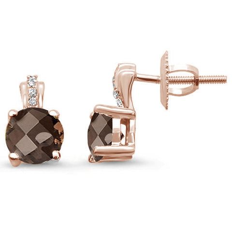 .71ct 14kt Rose Gold Smoky Topaz & Diamond Stud Earrings