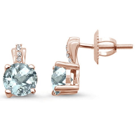 .82ct 14kt Rose Gold Aquamarine & Diamond Stud Earrings