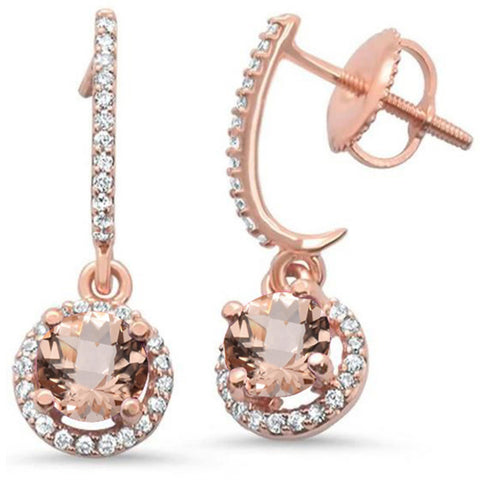 1.04ct 14kt Rose Gold Morganite & Diamond Earrings
