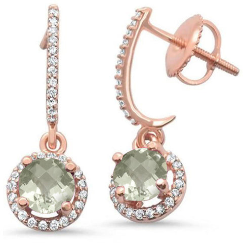 1.08ct 14kt Rose Gold Green Amethyst & Diamond Earrings