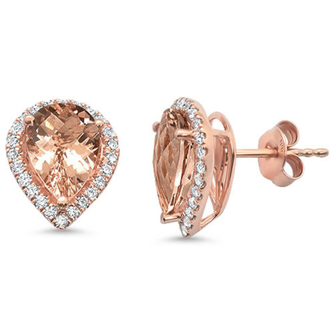 3.96ct 14kt Rose Gold Pear Shape Morganite & Diamond Stud Earrings