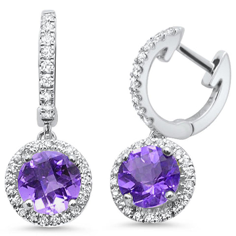 1.73ct 14kt White Gold Amethyst & Diamond Drop Dangle Earrings