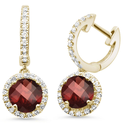 2.23ct 14kt Yellow Gold Garnet & Diamond Drop Dangle Earrings