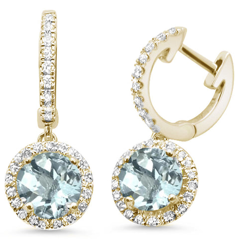 1.53ct 14kt Yellow Gold Aquamarine & Diamond Drop Dangle Earrings