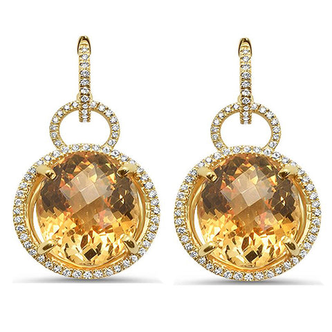 20.74ct 10k White Gold Natural Citrine Drop Dangle Earrings