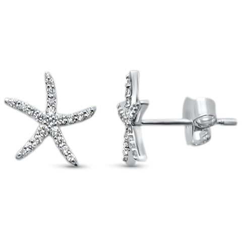 .18ct 14KT White Gold Trendy Starfish Diamond Stud Earrings