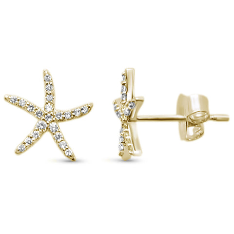 .18ct 14KT Yellow Gold Trendy Starfish Diamond Stud Earrings