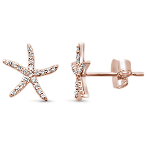 .19ct 14KT Rose Gold Trendy Starfish Diamond Stud Earrings