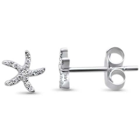 .05ct 14KT White Gold Starfish Trendy Diamond Stud Earrings