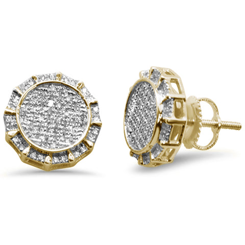 .34ct G SI 10k Yellow Gold Round Micro Pave Diamond Stud Earrings