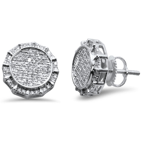 .34ct G SI 10k White Gold Round Micro Pave Diamond Stud Earrings
