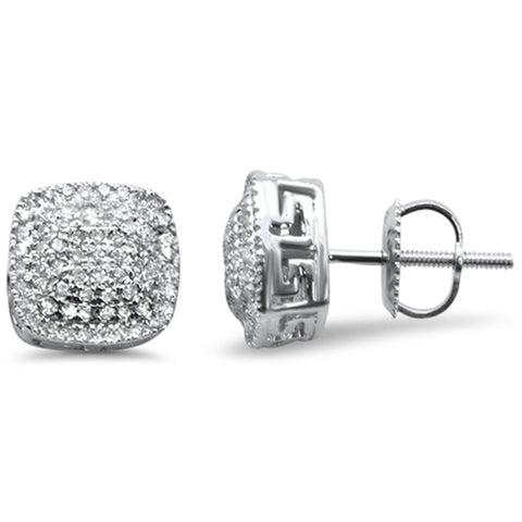 .36ct G SI 10K White Gold Square Micro Pave Diamond Stud Earrings