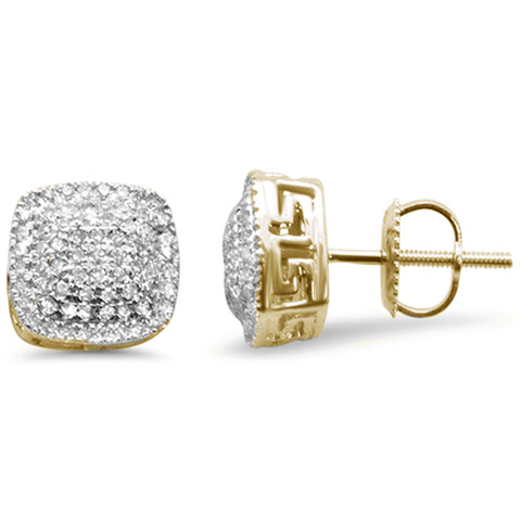 .34ct G SI 10K Yellow Gold Square Micro Pave Diamond Stud Earrings