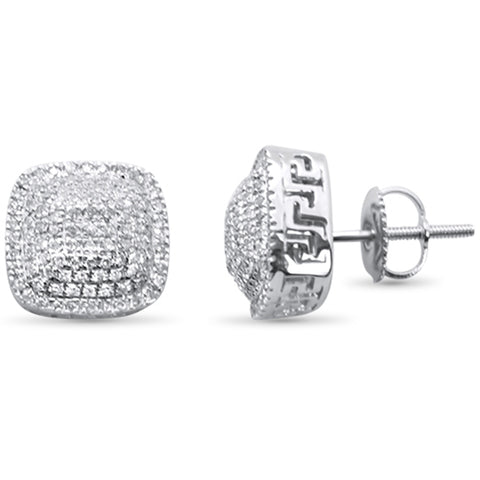 .48ct G SI 10K White Gold Square Micro Pave Diamond Stud Earrings