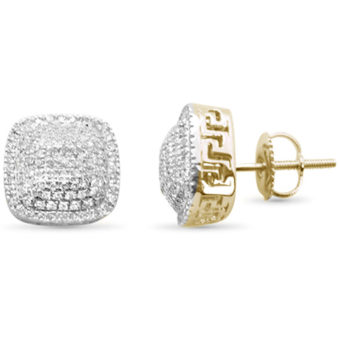 .49ct G SI 10K Yellow Gold Square Micro Pave Diamond Stud Earrings