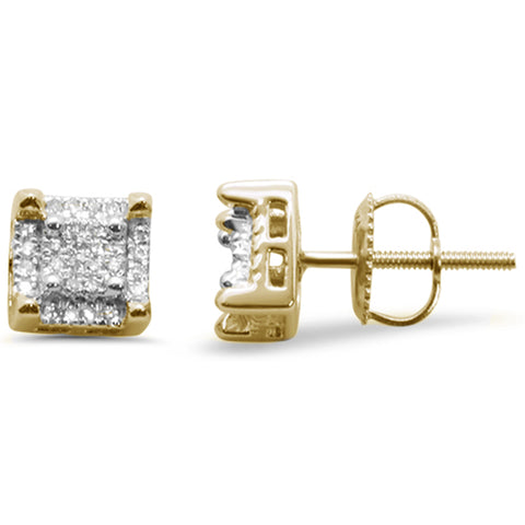 .15ct G SI 10K Yellow Gold Diamond Square Stud Earrings