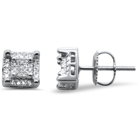 .15ct G SI 10K White Gold Square Diamond Stud Earrings