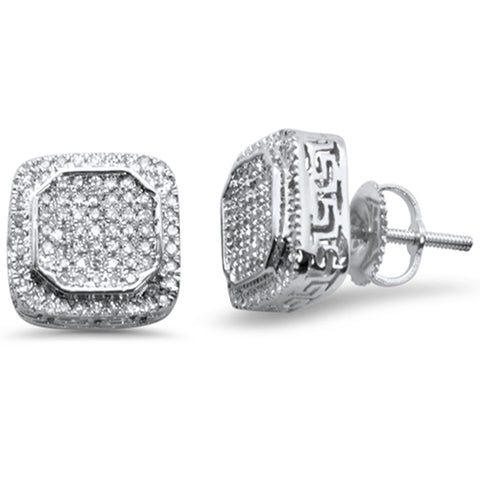 .42ct G SI 10K White Gold Square Micro Pave Diamond Stud Earrings