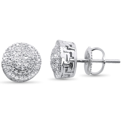 .24ct G SI 10K White Gold Round Micro Pave Diamond Stud Earrings