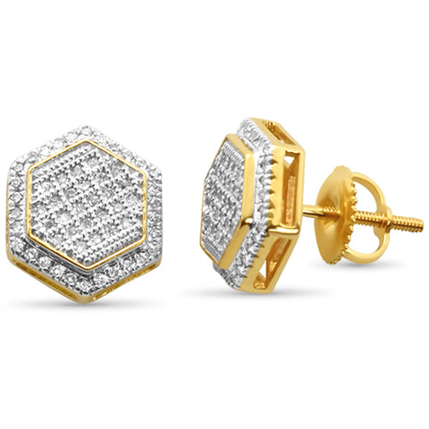 .26ct G SI 10K Yellow Gold Sextagon Shape Micr Pave Diamond Earrings