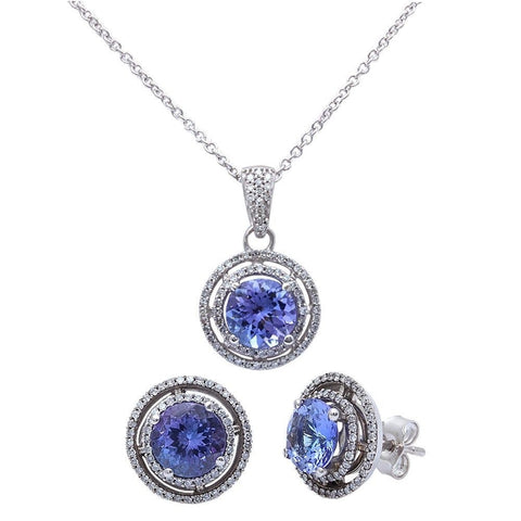 4.41ct Genuine Tanzanite & Diamond Halo Style Pendant & Earring Set 14kt Gold