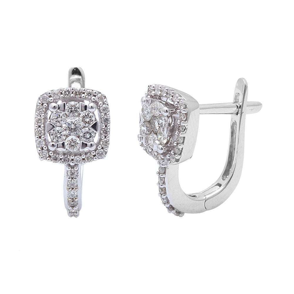 .50ct Princess Shaped Diamond Hoop Earrings 14kt White Gold