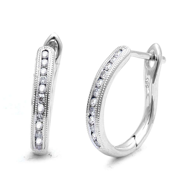 .25ct F-G VS1-VS2 Round Diamond Hoop Huggie Earrings 14kt White Gold