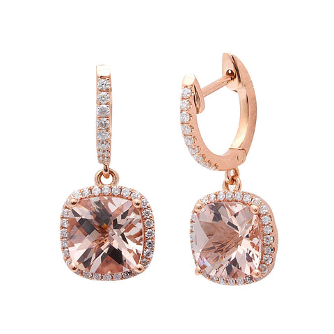 2.93CT F VS Morganite & Diamond Drop Dangle Halo Style 14kt Rose gold Earrings
