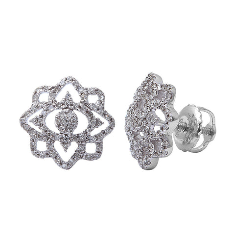 .20CT 14kt White gold Round Diamond Flower Stud Earrings