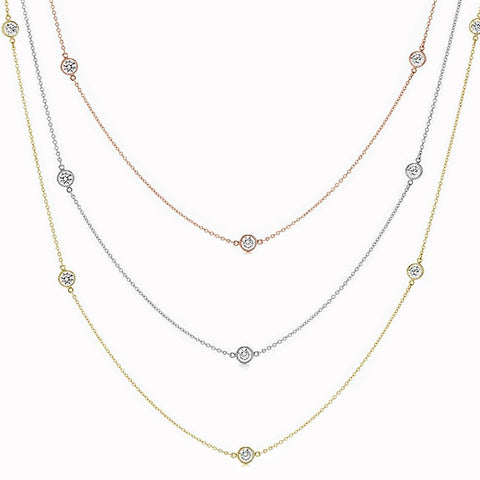 """Diamond By the Yard"" Available 3 Colors .925 Sterling Silver Pendant Necklace 16"", 24"", 36"" + 1.5"" Extension"
