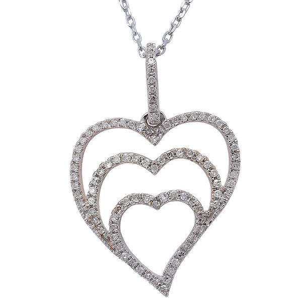 ".25ct F SI Round Diamond Pave Set Heart Pendant 14kt White Gold 18"" Long"