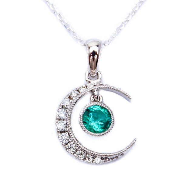 ".47ct Green Emerald & Diamond Pave Set Half Moon Pendant Necklace 18"" Chain"