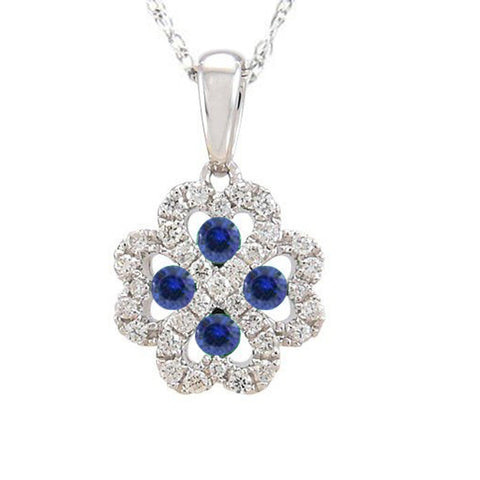 .36ct Blue Sapphire & Natural Diamond HEART Infinity Flower Pendant Necklace 18""