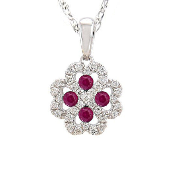.42ct Red Ruby & Natural Diamond HEART Infinity Flower Pendant Necklace 18""