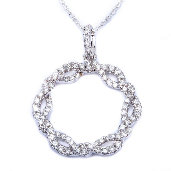 14k gold .51ct Twisted Pave Set Circle of Life Designer Diamond Pendant Necklace
