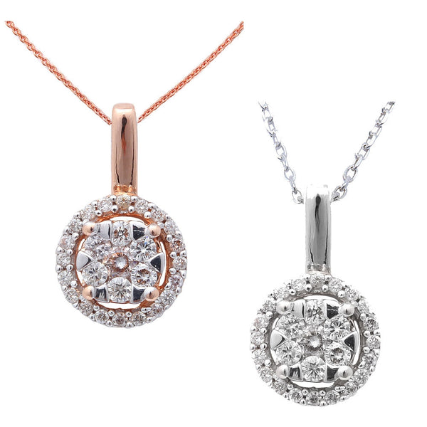".22ct  Designer Round Diamond Solitaire Pendant 14kt Gold with 18"" Chain"