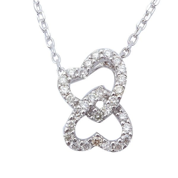 ".30ct Interlocked Hearts Diamond Pendant Necklace 14kt White Gold 18"" Chain"