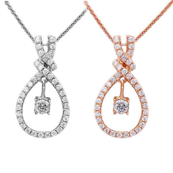 .40ct Diamond Solitaire Drop Dangle Necklace Pendant 14kt Rose or White Gold 18""