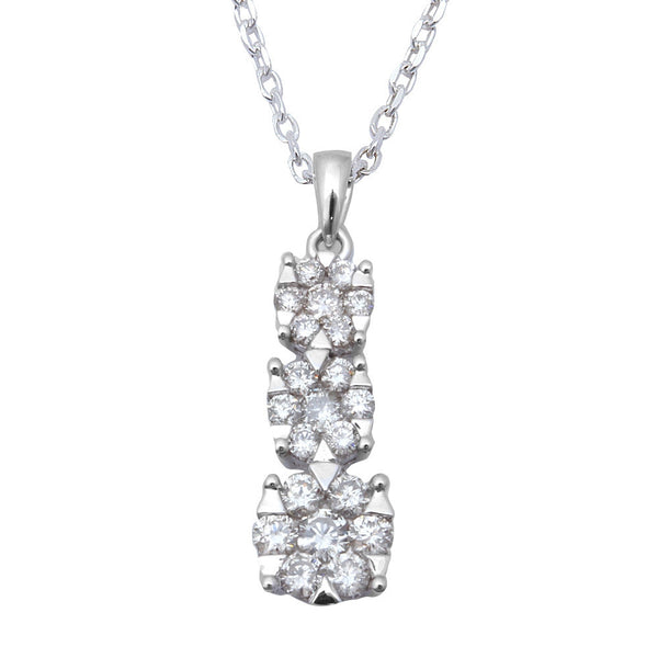 .56ct Diamond Three stone Past Present Future Pendant 14kt White Gold